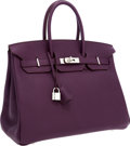 Luxury Accessories:Bags, Hermes 35cm Cassis Fjord Leather Birkin Bag with PalladiumHardware. ...