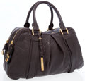 Luxury Accessories:Bags, Burberry Dark Brown Leather Top Handle Bag with Gold Hardware. ...