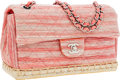 Luxury Accessories:Bags, Chanel Pink Striped Woven Leather & Suede Pink EspadrilleSingle Flap Bag. ...