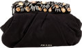 Luxury Accessories:Bags, Prada Black Satin Ruched Clutch Bag with Jeweled Closure. ...