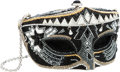 Luxury Accessories:Bags, Judith Leiber Full Bead Black & Silver Crystal Mask MinaudiereEvening Bag. ...