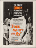 """Movie Posters:Exploitation, Free, White and 21 (American International, 1963). Poster (30"""" X40""""). Exploitation.. ..."""