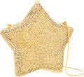 Luxury Accessories:Bags, Judith Leiber Full Bead Gold Crystal Star Minaudiere Evening Bag....