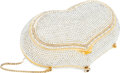 Luxury Accessories:Bags, Judith Leiber Full Bead Silver Crystal Heart Minaudiere EveningBag. ...