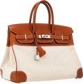 Luxury Accessories:Bags, Hermes 35cm Natural Barenia Leather & Toile Birkin Bag withPalladium Hardware. ...