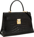 Luxury Accessories:Bags, Fendi Shiny Black Alligator Top Handle Bag with Gold Hardware. ...