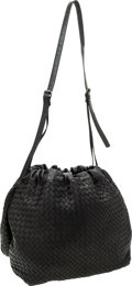 Luxury Accessories:Bags, Bottega Veneta Black Intrecciato Napa Leather Drawstring Bag. ...