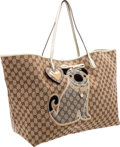Luxury Accessories:Bags, Gucci Limited Edition Classic Monogram Canvas Oversize Tote Bagwith Oliver Dog Detail. ...