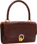 Luxury Accessories:Bags, Hermes Shiny Miel Crocodile Sac Ring Top Handle Bag with GoldHardware. ...