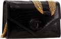 Luxury Accessories:Bags, Chanel Black Crocodile Flap Clutch Bag with Multichain ShoulderStrap. ...
