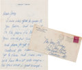 Movie/TV Memorabilia:Autographs and Signed Items, A Joey Bishop-Received Handwritten Letter from Jerry Lewis,1949....