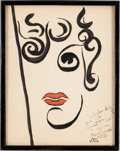 Movie/TV Memorabilia:Original Art, A Joan Crawford Caricature by Vitch from The Brown DerbyRestaurant, Circa 1930s....