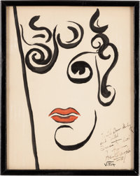 A Joan Crawford Caricature by Vitch from The Brown Derby Restaurant, Circa 1930s