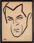 Movie/TV Memorabilia:Original Art, A Gary Cooper Caricature from The Brown Derby Restaurant, Circa1930s....