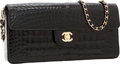 Luxury Accessories:Bags, Chanel Shiny Black Crocodile East-West Flap Clutch Bag with ChainStrap. ...