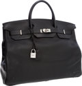 Luxury Accessories:Travel/Trunks, Hermes 50cm Black Clemence Leather Travel Birkin Bag with PalladiumHardware. ...