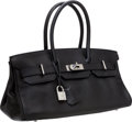 Luxury Accessories:Bags, Hermes 42cm Black Clemence Leather JPG Shoulder Birkin Bag withPalladium Hardware. ...