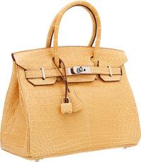 Hermes 30cm Matte Paille Nilo Crocodile Birkin Bag with Palladium Hardware