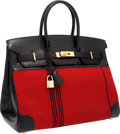 Luxury Accessories:Bags, Hermes Limited Edition 35cm Black Calf Box Leather & RedPotomas Canvas Birkin Bag with Gold Hardware. ...