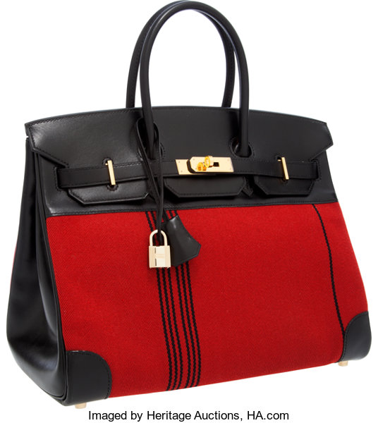 94670dccfc5 ... Luxury Accessories Bags, Hermes Limited Edition 35cm Black Calf Box  Leather  amp  RedPotomas ...