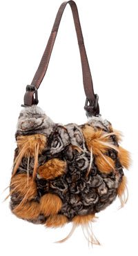 Fendi Gray & Brown Lizard, Chinchilla, & Leather Ostrik Shoulder Bag