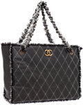 Luxury Accessories:Bags, Chanel Gray & Black Lambskin Leather and Tweed Large Shoulder Tote Bag with Gold Hardware. ...