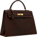Luxury Accessories:Bags, Hermes 32cm Shiny Marron Fonce Crocodile Sellier Kelly Bag withGold Hardware. ...