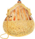 Luxury Accessories:Bags, Judith Leiber Half Bead Gold Crystal Chatelaine Minaudiere EveningBag. ...