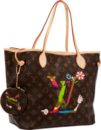 Louis Vuitton Set of Two; Limited Edition by Takashi Murakami for MOCA Monogram LV Hands Neverfull MM Bag & Change P...