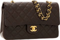 Luxury Accessories:Bags, Chanel Chocolate Brown Quilted Lambskin Leather Medium Double FlapBag with Gold Hardware. ...
