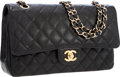 Luxury Accessories:Bags, Chanel Black Quilted Caviar Leather Medium Double Flap Bag with Gold Hardware. ...