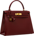 Luxury Accessories:Bags, Hermes 28cm Rouge H Calf Box Leather Sellier Kelly Bag with GoldHardware. ...