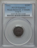 Early Half Dimes: , 1803 H10C Large 8 -- Mount Removed -- PCGS Genuine. Fine Details.NGC Census: (0/38). PCGS Population (5/83). Mintage: 37,8...
