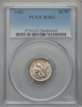 Three Cent Nickels: , 1882 3CN MS63 PCGS. PCGS Population (12/64). NGC Census: (4/38). Mintage: 22,200. Numismedia Wsl. Price for problem free NG...