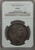Coins of Hawaii: , 1883 $1 Hawaii Dollar XF40 NGC. NGC Census: (53/259). PCGSPopulation (146/409). Mintage: 500,000. ...