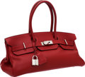 Luxury Accessories:Bags, Hermes 42cm Rouge Vif Clemence Leather JPG Shoulder Birkin Bag withPalladium Hardware. ...