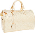 Art Glass:Daum, Louis Vuitton Limited Edition Monogram Miroir Metallic Gold Speedy35 Bag. ...
