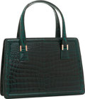 Luxury Accessories:Bags, Valextra Shiny Green Crocodile Top Handle Bag. ...