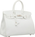 Luxury Accessories:Bags, Hermes 35cm White Epsom Leather Birkin Bag with Palladium Hardware. ...