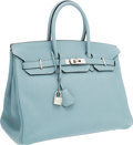 Luxury Accessories:Bags, Hermes 35cm Blue Ciel Togo Leather Birkin Bag with PalladiumHardware. ...