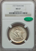 Commemorative Silver: , 1937 50C Texas MS67 NGC. CAC. NGC Census: (68/7). PCGS Population(97/2). Mintage: 6,571. Numismedia Wsl. Price for problem...