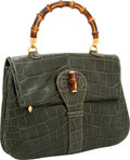 Luxury Accessories:Bags, Gucci Heritage Collection Matte Green Alligator Bamboo Top HandleBag. ...
