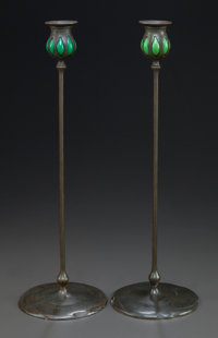 PAIR OF TIFFANY STUDIOS PATINATED BRONZE AND FAVRILE GLASS CANDLESTICKS Circa 1900, Stamped: 21466 17-1/2 inche