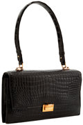 Luxury Accessories:Bags, Hermes Shiny Black Crocodile Sac Palermo Bag with Gold Hardware....