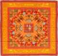 "Luxury Accessories:Accessories, Hermes Orange & Red ""Early America,"" by Françoise De LaPerriere Silk Scarf. ..."