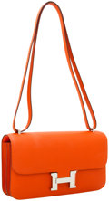 Luxury Accessories:Bags, Hermes Feu Epsom Leather Double Gusset Constance Elan Bag withPalladium Hardware. ...