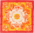 "Luxury Accessories:Accessories, Hermes Orange & Yellow ""Azulejos,"" by Catherine Baschet Silk Scarf. ..."