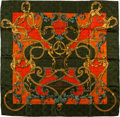 "Luxury Accessories:Accessories, Hermes Olive, Orange & Red ""L'Instruction du Roy,"" by Henrid'Origny Silk Jaquard Scarf. ..."