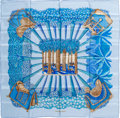 "Luxury Accessories:Accessories, Hermes Blue, Teal & Gold ""Ombres et Lumieres,"" by Annie FaivreSilk Scarf. ..."