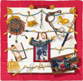 "Luxury Accessories:Accessories, Hermes Red, White & Gold ""Memoire d'Hermes,"" by Caty LathamSilk Scarf. ..."